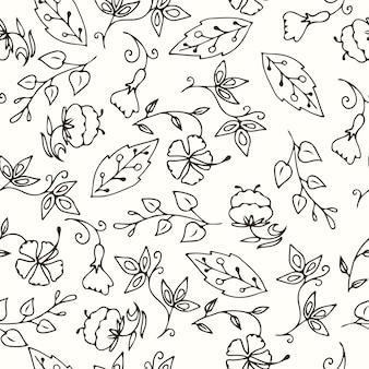 Sketches floral e variedade de folhas padrão