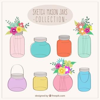 Sketchy coleção frascos de pedreiro