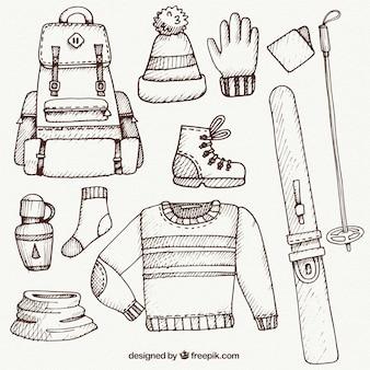 Ski roupas e acessórios pacote esboço