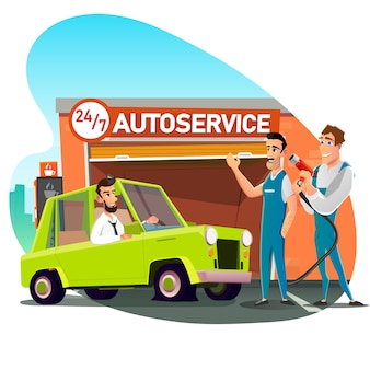Skilled mechanic team welcoming client no carro