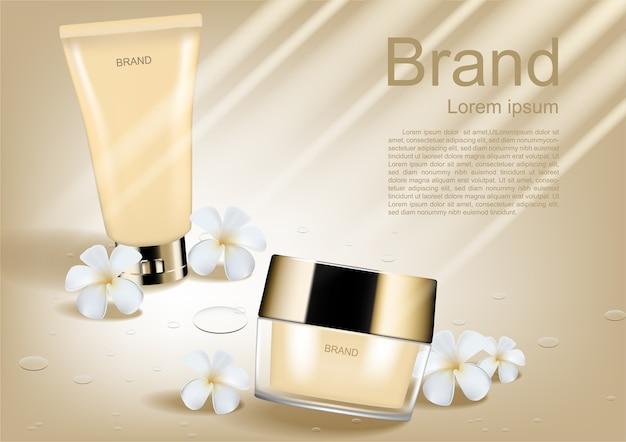 Skincare conjunto com pequenas flores brancas e luz brilhante