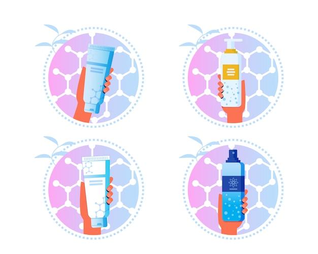 Skincare cosmetics cartoon labels conjunto de adesivos