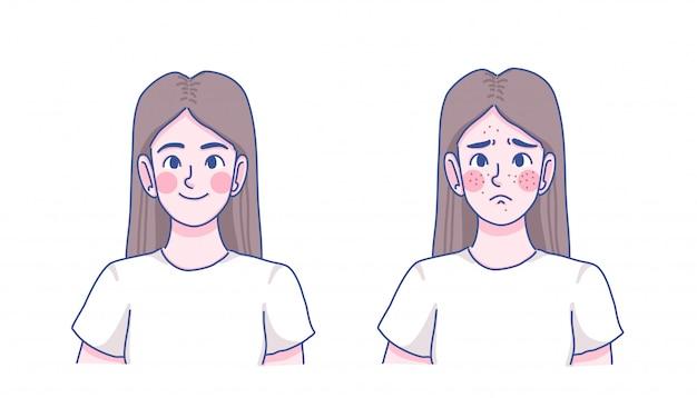 Skincare saudável da menina