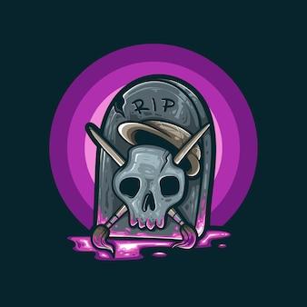 Skull artist death colorful illustration