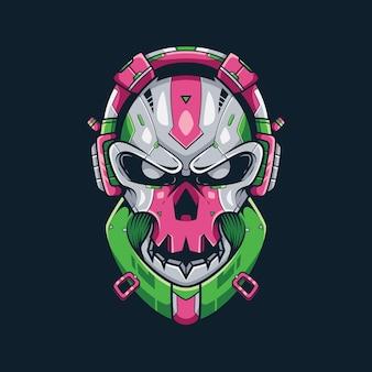 Skull bass music ilustração e design de camisetas