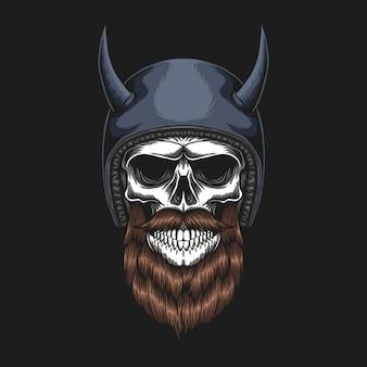 Skull biker usando um capacete