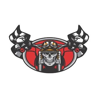 Skull ghost rider road vector logo design illustration