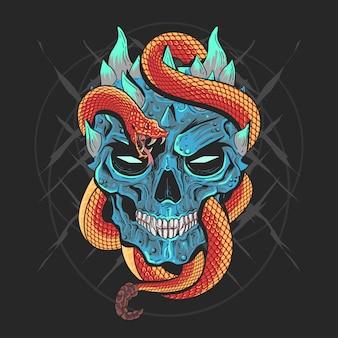 Skull head punk e snake artwork vetor detalhe com camadas editable bons