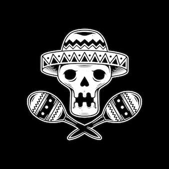 Skull mariachi mexican design