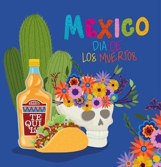Skull tequila taco e mexico day of the dead design, tema do turismo cultural mexicano