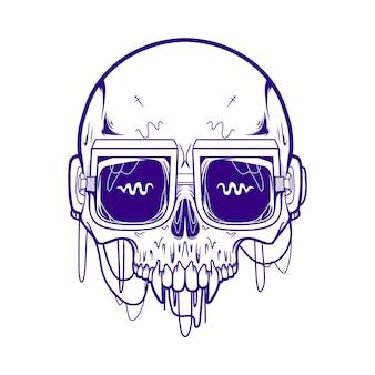 Skull wear eye óculos ilustração tinta