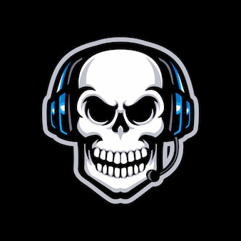 Skull with headset mascot logotipo isolado