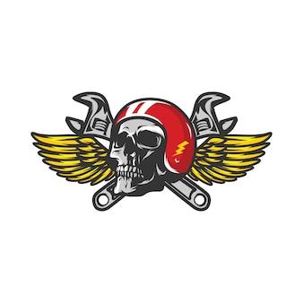 Skull workshop logo mascote vector design illustration