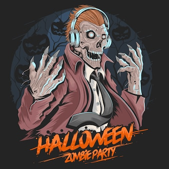 Skull zombie dj music party vetor de elemento de halloween