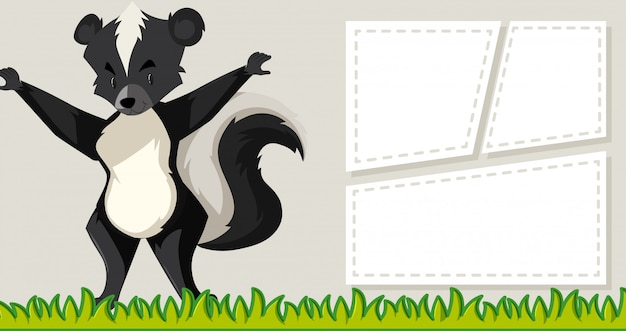 Skunk em quadros de nota em branco