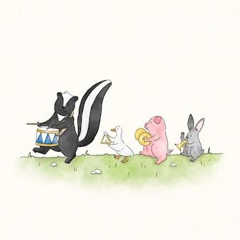 Skunk marchando para seu próprio tambor