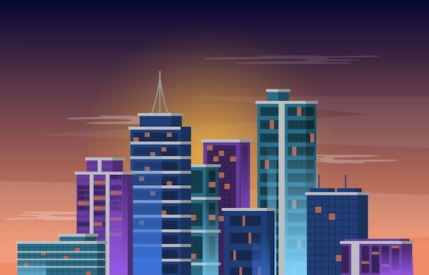 Sky city edifício construção cityscape skyline business ilustração