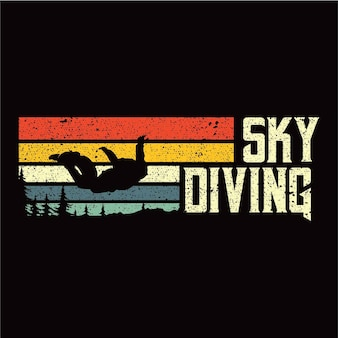 Sky diving sillhouete