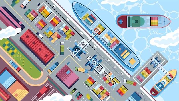 Sky view de portos marítimos com muitas ilustrações de navios de carga