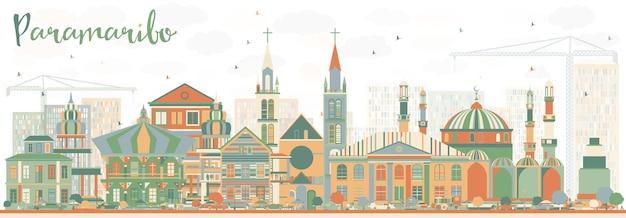 Skyline abstrata de paramaribo com edifícios de cor. ilustração vetorial. viagem de negócios e conceito de turismo com arquitetura moderna. imagem para cartaz de banner de apresentação e site.