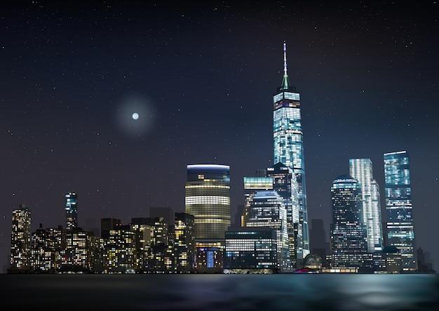 Skyline da cidade à noite com arranha-céus brilhantes