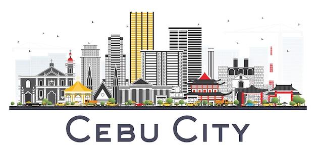 Skyline da cidade de cebu filipinas com edifícios de cinza.