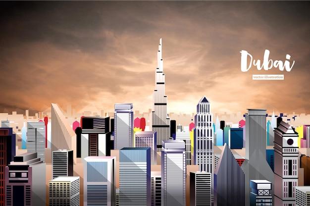 Skyline da cidade de dubai. vista aérea.