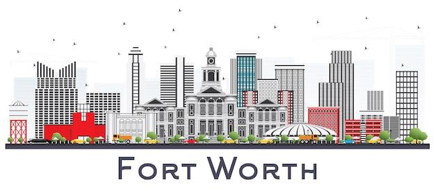 Skyline da cidade de fort worth eua com edifícios de cinza isolados no branco. paisagem urbana de fort worth com pontos turísticos.