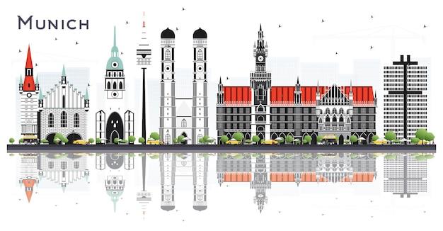 Skyline da cidade de munique alemanha com edifícios de cor isolados no branco. ilustração vetorial. viagem de negócios e conceito de turismo com arquitetura histórica. paisagem urbana de munique com pontos turísticos.