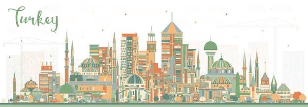 Skyline da cidade de turquia com edifícios de cor. ilustração vetorial. conceito de turismo com arquitetura histórica. paisagem urbana da turquia com pontos turísticos. izmir. ancara. istambul.