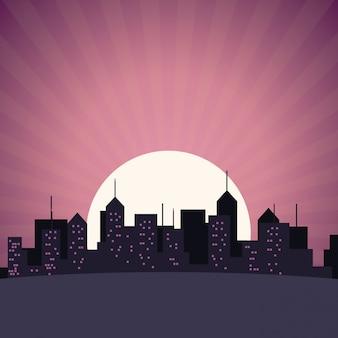 Skyline da cidade, edifício, arranha-céus, pôr-do-sol, vista