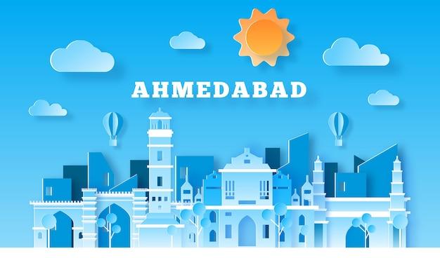 Skyline de ahmedabad em estilo de jornal