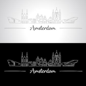 Skyline de amesterdão com todos os edifícios famosos