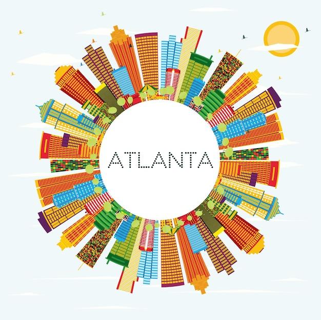 Skyline de atlanta com edifícios de cor, céu azul e espaço de cópia. ilustração vetorial. viagem de negócios e conceito de turismo com arquitetura moderna.