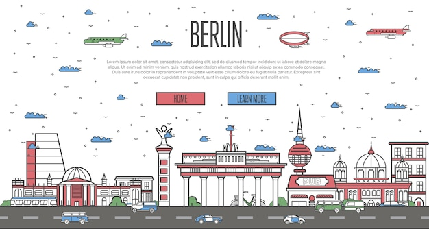 Skyline de berlim com monumentos famosos nacionais