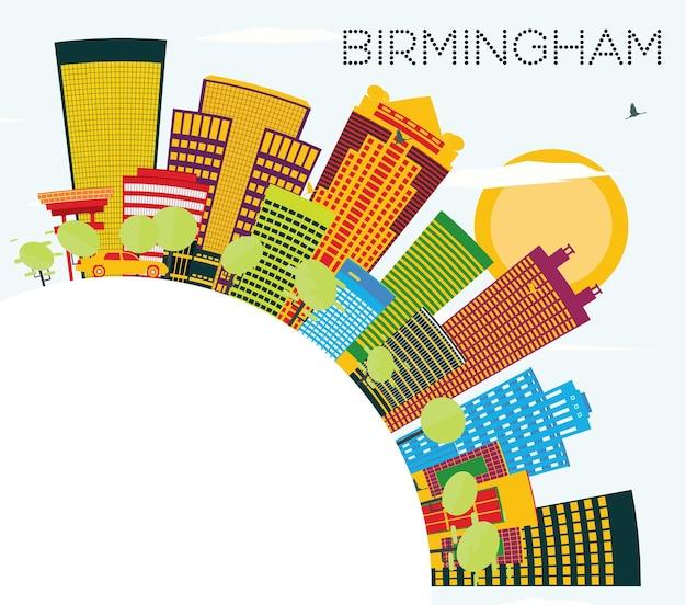 Skyline de birmingham com edifícios de cor, céu azul e espaço de cópia. ilustração vetorial. viagem de negócios e conceito de turismo. imagem para cartaz de banner de apresentação e site.