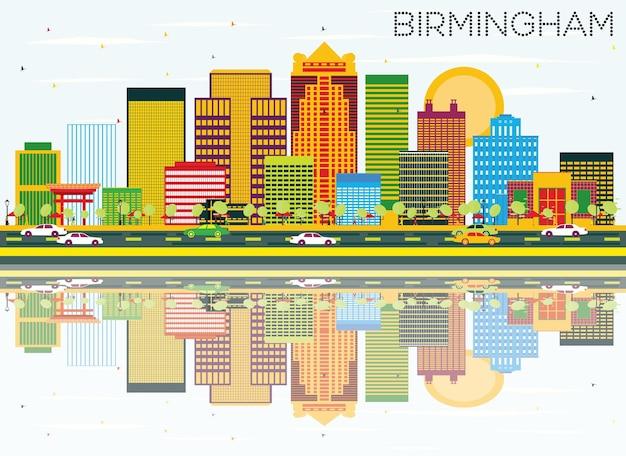 Skyline de birmingham com edifícios de cor, céu azul e reflexos. ilustração vetorial. viagem de negócios e conceito de turismo. imagem para cartaz de banner de apresentação e site.