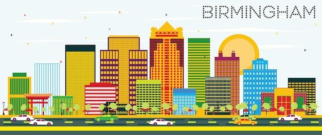 Skyline de birmingham com edifícios de cor e céu azul. ilustração vetorial. viagem de negócios e conceito de turismo. imagem para cartaz de banner de apresentação e site.