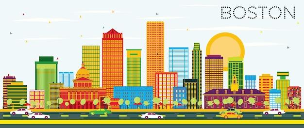 Skyline de boston com edifícios de cor e céu azul. ilustração vetorial. viagem de negócios e conceito de turismo com edifícios modernos. imagem para cartaz de banner de apresentação e site.
