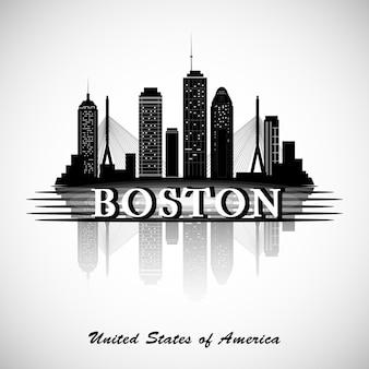Skyline de boston. silhueta da cidade