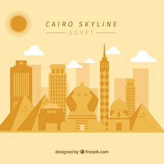 Skyline de cairo elegante com design plano