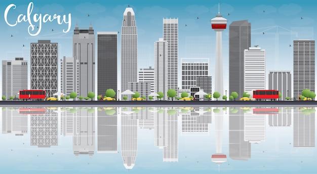 Skyline de calgary com edifícios de cinza