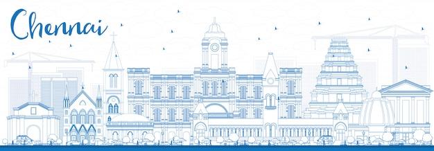 Skyline de chennai de contorno com marcos azuis.