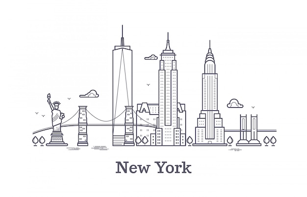 Skyline de contorno de nova york, silhueta de linha de nyc, turista de eua e conceito de vetor de viagens