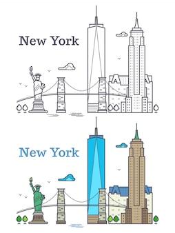 Skyline de contorno de nova york, silhueta de linha nyc, turista dos eua e conceito de viagem