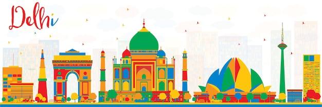 Skyline de delhi índia com edifícios de cor. ilustração vetorial. viagem de negócios e conceito de turismo com arquitetura histórica. imagem para apresentação, banner, cartaz.