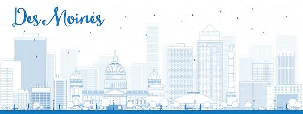 Skyline de des moines com edifícios azuis