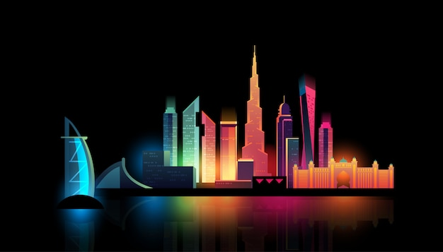 Skyline de dubai city noite com luzes coloridas
