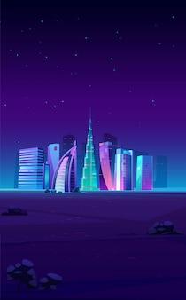 Skyline de dubai, emirados árabes unidos com edifícios famosos do mundo