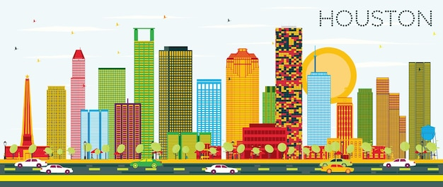 Skyline de houston com edifícios de cor e céu azul. ilustração vetorial. viagem de negócios e conceito de turismo com edifícios modernos. imagem para cartaz de banner de apresentação e site.